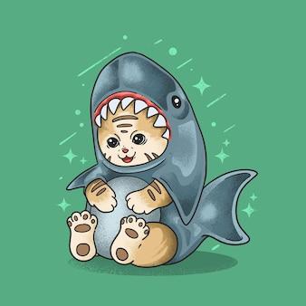 Carino piccolo gatto indossare costume da squalo illustrazione grunge