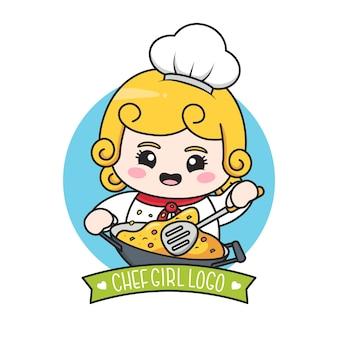 Simpatico logo da ragazza chef paffuto