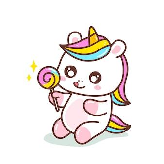Carino piccolo colorato favoloso unicorno illustrazione