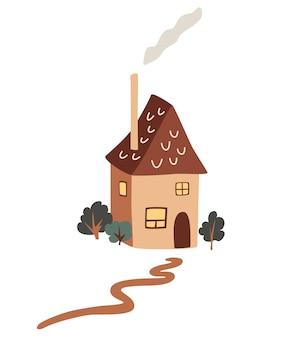 Piccola casa di campagna carina. cottage di villaggio tra gli alberi. esterno della casa con camino e fumo. edificio colorato e accogliente. illustrazione vettoriale piatto infantile isolato su sfondo bianco.