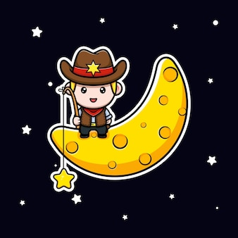 Carino piccolo cowboy che cattura la stella dall'illustrazione della mascotte della luna
