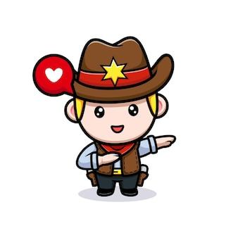 Simpatica illustrazione della mascotte tamponante da cowboy