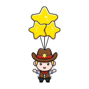 Simpatico cowboy che galleggia con l'illustrazione della mascotte del palloncino stella