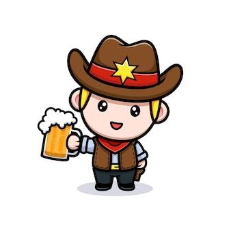 Simpatico cowboy che tiene in mano la mascotte della birra illustrazione