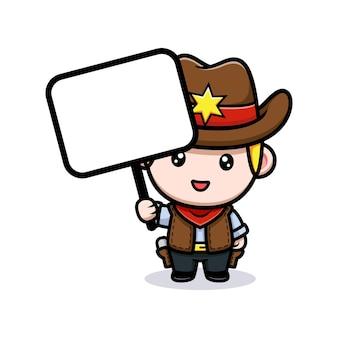 Piccolo cowboy sveglio che tiene l'illustrazione in bianco della mascotte della scheda di testo