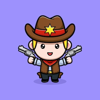 Simpatico cowboy che tiene in mano l'illustrazione della mascotte delle pistole