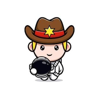 Carino piccolo cowboy che indossa l'illustrazione della mascotte del vestito da astronauta