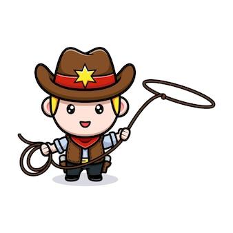 Simpatico cowboy con illustrazione mascotte lazo