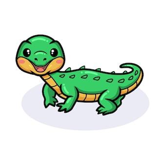 Simpatico cartone animato coccodrillo in posa