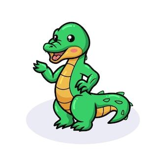 Simpatico cartone animato coccodrillo in piedi