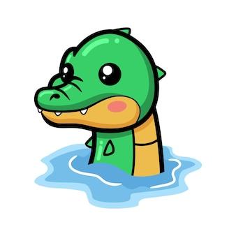 Simpatico cartone animato coccodrillo in acqua