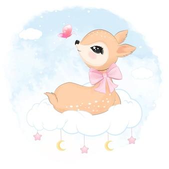 Simpatico cervo seduto sull'illustrazione dell'acquerello animale della nuvola