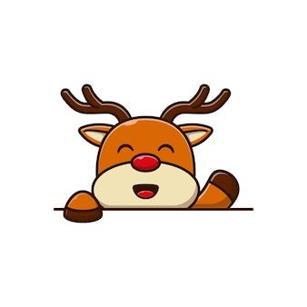 Carino piccolo cervo illustrazione vettoriale design saluto