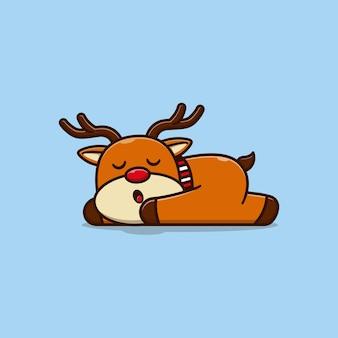 Simpatico disegno di illustrazione vettoriale di piccolo cervo che dorme pacificamente