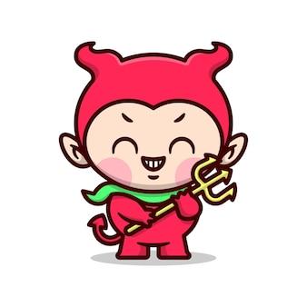 Il diavolo sveglio sorride e porta un tridente d'oro disegno di mascotte fumetto di alta qualità