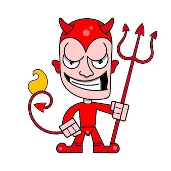 Simpatico diavoletto con corna e un tridente fiammeggiante, illustrazione vettoriale