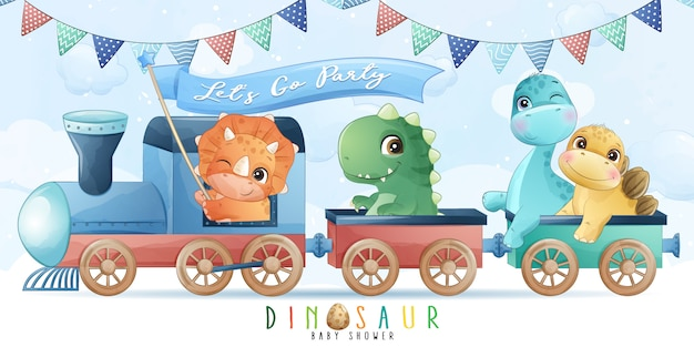 Piccolo dinosauro sveglio che si siede nell'illustrazione del treno