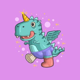 Carino piccolo dinosauro unicorno adorabile illustrazione