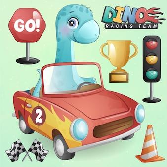 Simpatico dinosauro con set di illustrazioni per auto da corsa