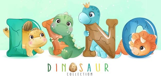Simpatico dinosauro con raccolta ad acquerello