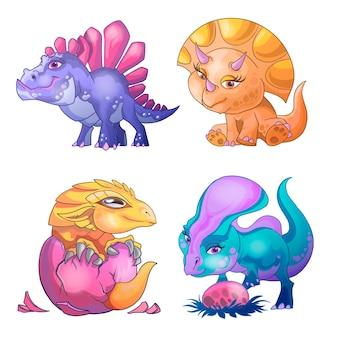 Insieme sveglio del fumetto dei piccoli dinosauri. giocando con l'uovo, alzati, nato da un uovo. illustrazione di personaggi dei cartoni animati per la progettazione di biglietti di auguri utilizzati per il modello di progettazione di stampa