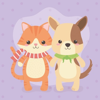 Simpatico e piccolo cane con personaggi di gatto