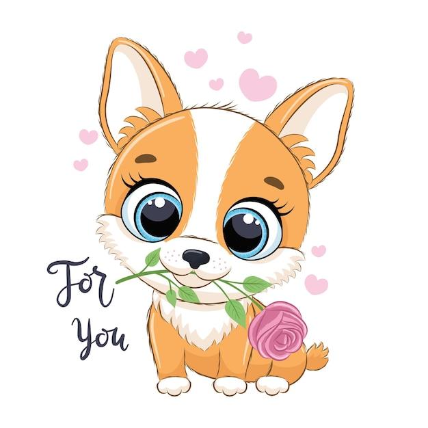 Piccolo cane sveglio con l'illustrazione di stile del fumetto del fiore