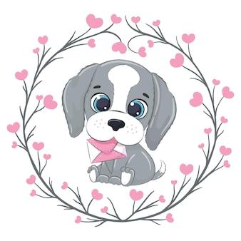 Piccolo cane sveglio con la lettera. felice giorno di san valentino clipart.
