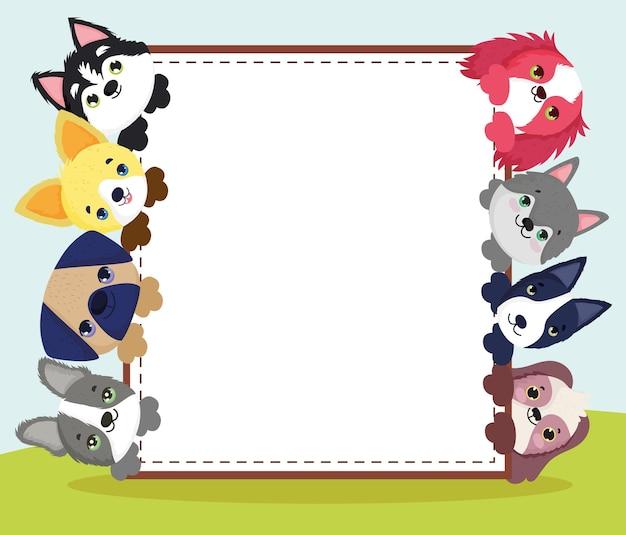 Cartello con simpatici cagnolini