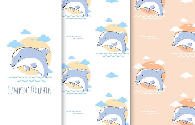 Piccola illustrazione sveglia del delfino, carta e modello senza cuciture.