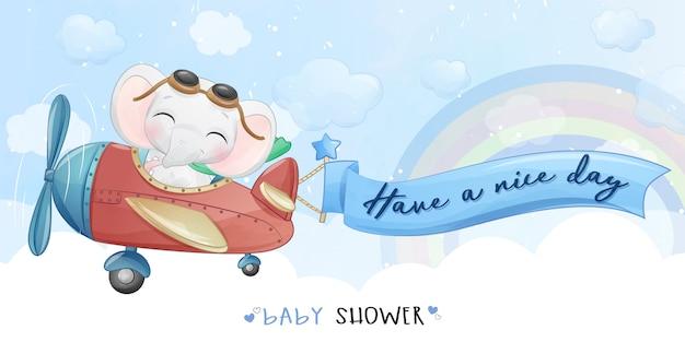 Volo sveglio del piccolo elefante con l'illustrazione dell'aeroplano Vettore Premium