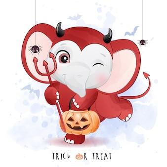 Piccolo elefante sveglio per il giorno di halloween con l'illustrazione dell'acquerello