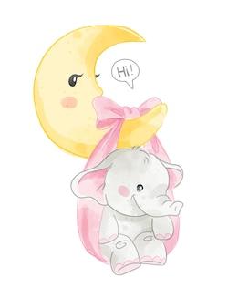 Piccolo elefante sveglio che appende sull'illustrazione della luna