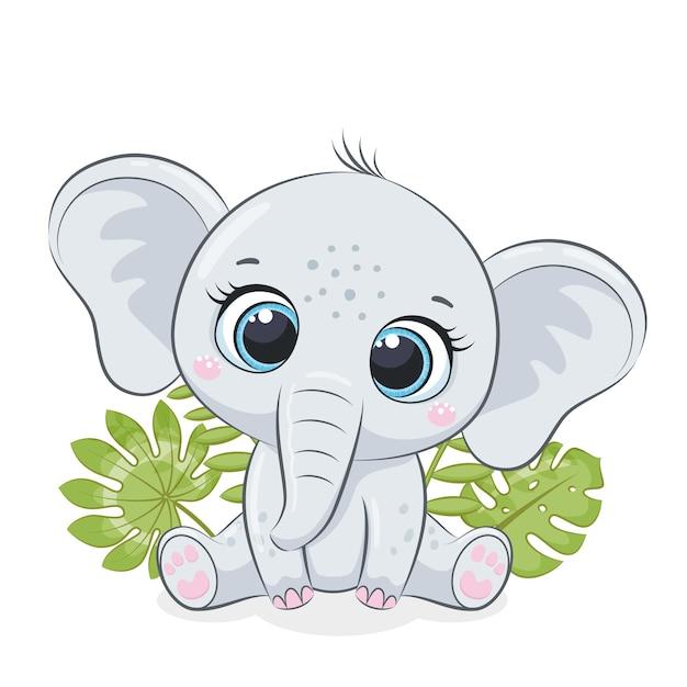 Il piccolo elefante sveglio è seduto davanti al fogliame tropicale