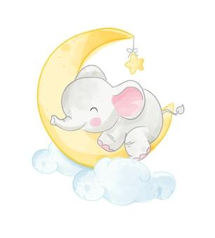 Piccolo elefante sveglio che sonnecchia sull'illustrazione della luna
