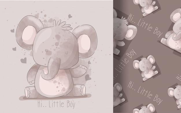 Modello senza cuciture sveglio del piccolo elefante. illustrazione per bambini