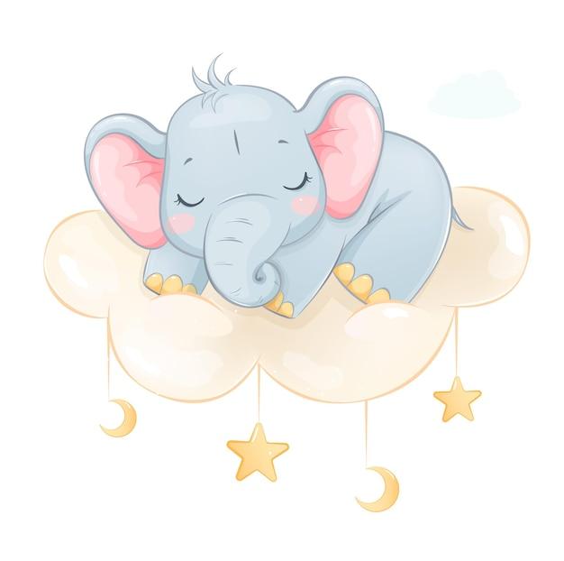 Piccolo elefante sveglio che dorme su una nuvola