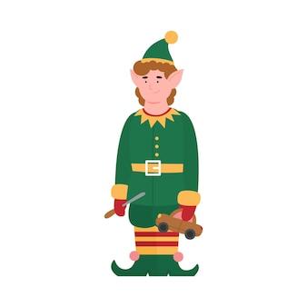 Simpatico personaggio dei cartoni animati elfo con macchinina