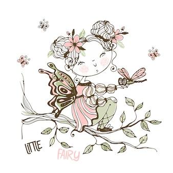 Una piccola fata carina con una libellula.