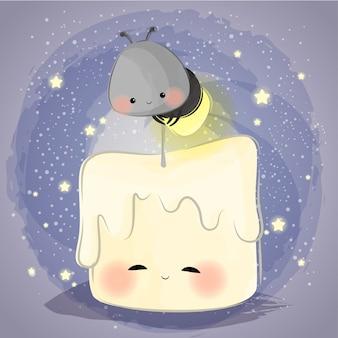 Piccola lucciola carina e piccola candela