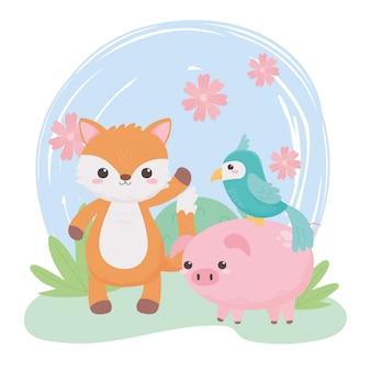 Carino piccolo volpe maiale pappagallo fiori cespuglio animali del fumetto in un paesaggio naturale