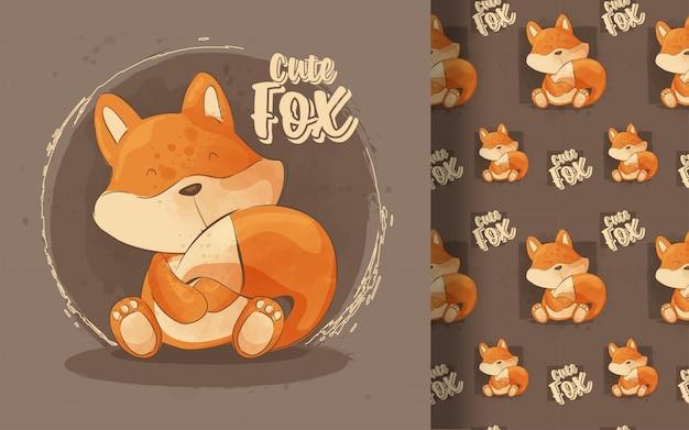 Modello senza cuciture sveglio della piccola volpe. illustrazione per bambini