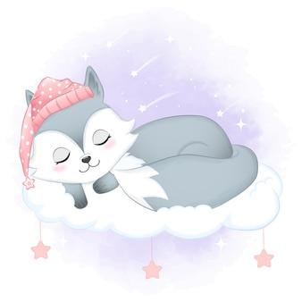 Piccola volpe sveglia che dorme sulla nuvola