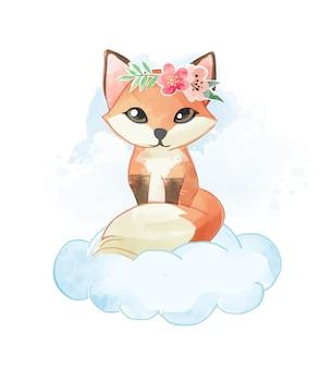 Carino piccola volpe con corona floreale sulla nuvola illustrazione vettoriale