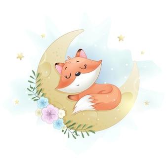 Carino piccolo foxy che dorme sulla luna