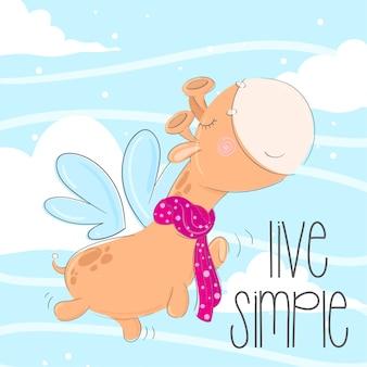 Illustrazione animale disegnata a mano della piccola giraffa sveglia
