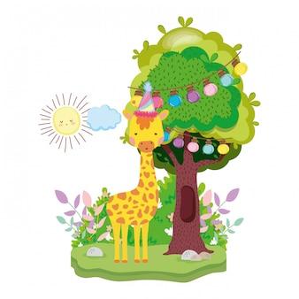 Carina e piccola giraffa con carattere cappello da festa