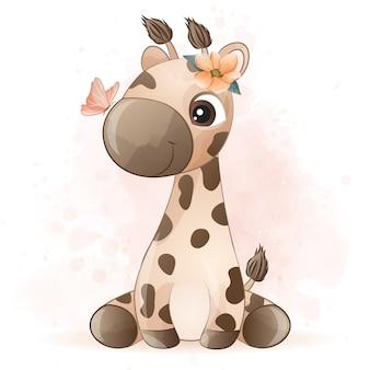 Carina piccola giraffa con effetto acquerello