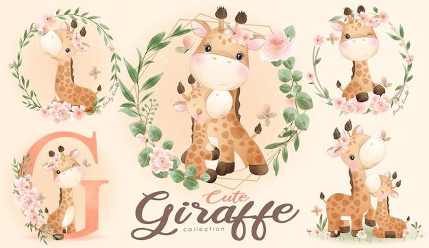 Piccola giraffa sveglia con l'insieme dell'illustrazione dell'acquerello