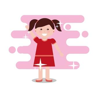 La bambina sveglia arma sull'illustrazione luminosa di vettore del fondo di colore felice